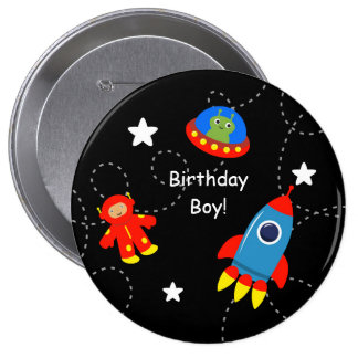 Black Outer Space Personalized Birthday Button