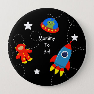 Black Outer Space Personalized Mommy to Be Button