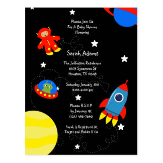 Black Outer Space UFO Baby Shower Postcard