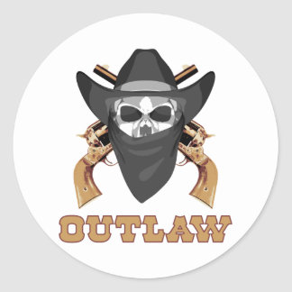Black Outlaw Classic Round Sticker