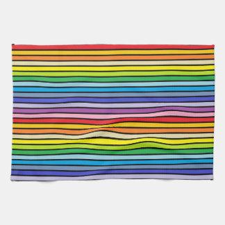 Black Outlined Broader Spectrum Rainbow Stripes Kitchen Towel