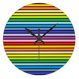 Black Outlined Broader Spectrum Rainbow Stripes Large Clock