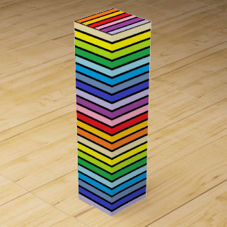 Black Outlined Broader Spectrum Rainbow Stripes Wine Box