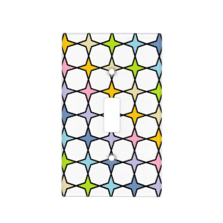 Black Outlined Pastel Rainbow 4 Point Stars Light Switch Cover