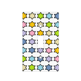 Black Outlined Pastel Rainbow 6 Point Stars Light Switch Cover