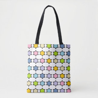 Black Outlined Pastel Rainbow 6 Point Stars Tote Bag