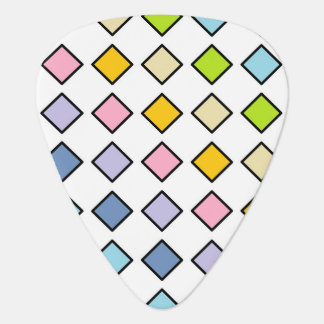 Black Outlined Pastel Rainbow Diamonds Guitar Pick