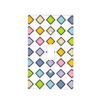 Black Outlined Pastel Rainbow Diamonds Light Switch Cover