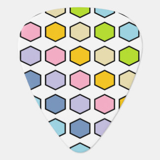 Black Outlined Pastel Rainbow Hexagons Guitar Pick
