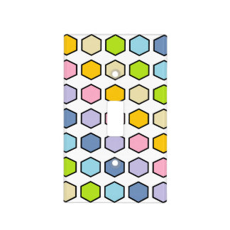 Black Outlined Pastel Rainbow Hexagons Light Switch Cover