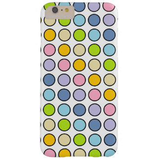 Black Outlined Pastel Rainbow Polka Dots Barely There iPhone 6 Plus Case