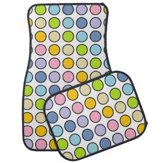 Black Outlined Pastel Rainbow Polka Dots Car Mat