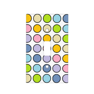 Black Outlined Pastel Rainbow Polka Dots Light Switch Cover