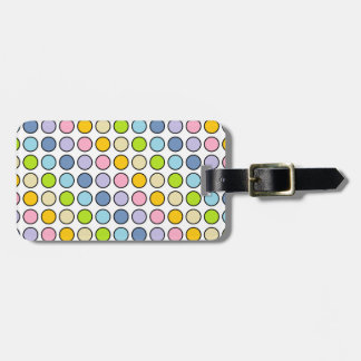 Black Outlined Pastel Rainbow Polka Dots Luggage Tag