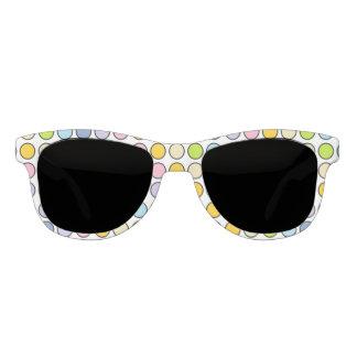 Black Outlined Pastel Rainbow Polka Dots Sunglasses