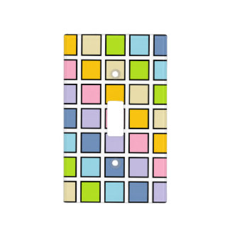 Black Outlined Pastel Rainbow Squares Light Switch Cover