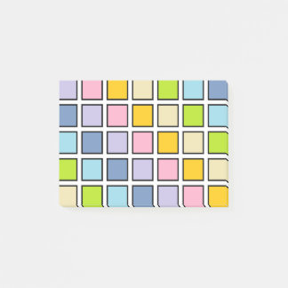 Black Outlined Pastel Rainbow Squares Post-it® Notes