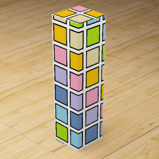 Black Outlined Pastel Rainbow Squares Wine Gift Box