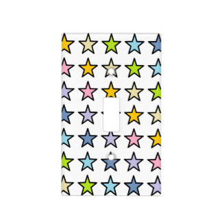 Black Outlined Pastel Rainbow Stars Light Switch Cover
