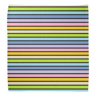 Black Outlined Pastel Rainbow Stripes Bandanas