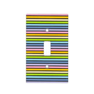 Black Outlined Pastel Rainbow Stripes Light Switch Cover