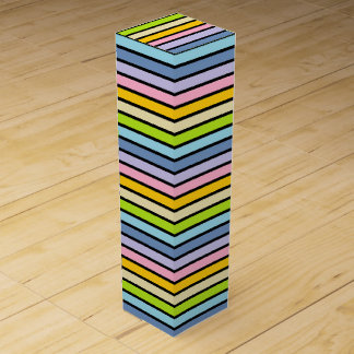 Black Outlined Pastel Rainbow Stripes Wine Box