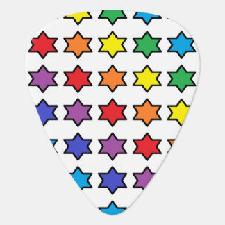 Black Outlined Rainbow 6 Point Stars Guitar Pick