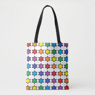 Black Outlined Rainbow 6 Point Stars Tote Bag