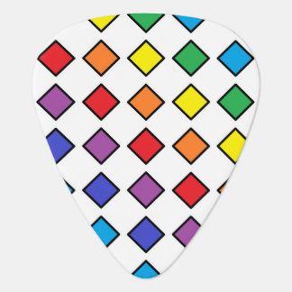 Black Outlined Rainbow Diamonds Guitar Pick