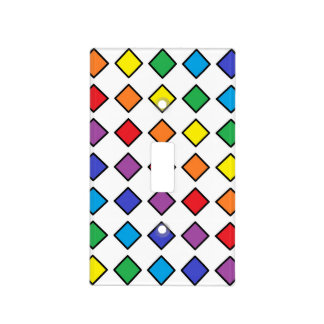 Black Outlined Rainbow Diamonds Light Switch Cover