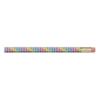 Black Outlined Rainbow Hexagons Pencil