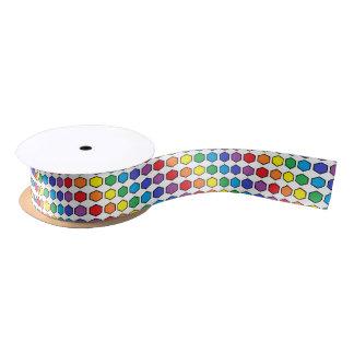 Black Outlined Rainbow Hexagons Satin Ribbon