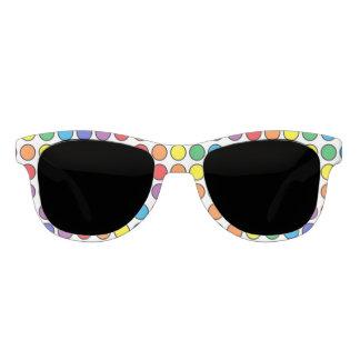 Black Outlined Rainbow Polka Dots Sunglasses