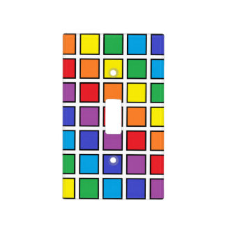 Black Outlined Rainbow Squares Light Switch Cover