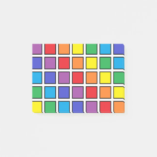 Black Outlined Rainbow Squares Post-it® Notes