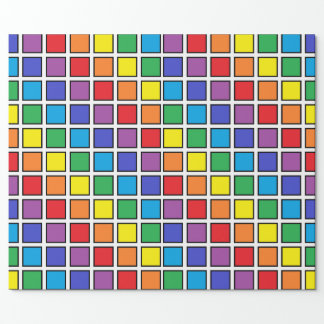 Black Outlined Rainbow Squares Wrapping Paper