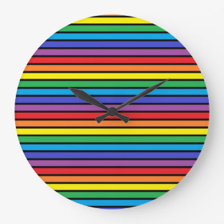 Black Outlined Rainbow Stripes Large Clock
