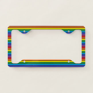 Black Outlined Rainbow Stripes License Plate Frame