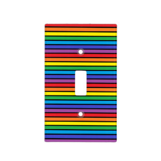 Black Outlined Rainbow Stripes Light Switch Cover