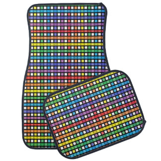 Black Outlined Rainbow Weave Car Mat