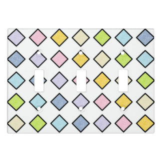 Black Outlined Static Pastel Rainbow Diamonds Light Switch Cover