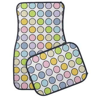 Black Outlined Static Pastel Rainbow Polka Dots Car Mat