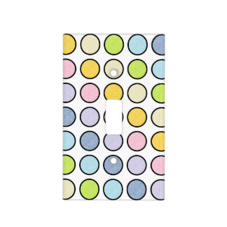 Black Outlined Static Pastel Rainbow Polka Dots Light Switch Cover