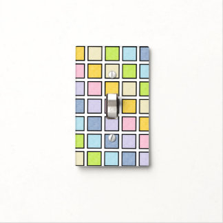 Black Outlined Static Pastel Rainbow Squares Light Switch Cover