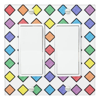 Black Outlined Static Rainbow Diamonds Light Switch Cover