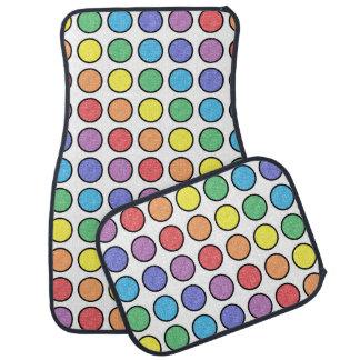 Black Outlined Static Rainbow Polka Dots Car Mat