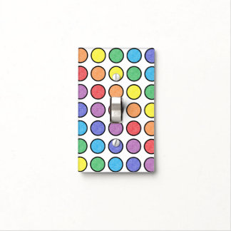Black Outlined Static Rainbow Polka Dots Light Switch Cover