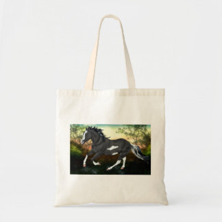 Black Overo Paint Horse Tote Bag