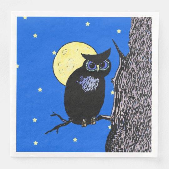 Black Owl Blue eyes in Tree Yellow Moon Stars Disposable Napkin