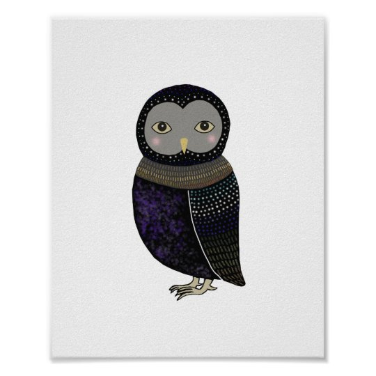 Black Owl Blue Feather Poster by MiKa Art